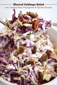 Shaved Cabbage Salad with Creamy Feta Vinaigrette and Spiced Pecans - one of the most delicious slaws I've ever had