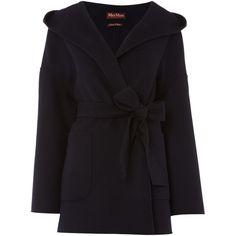 Max Mara Selva virgin wool wrap coat with tie waist ($340) ❤ liked on Polyvore featuring outerwear, coats, blue, clearance, wrap coat, maxmara, maxmara coat and blue coat