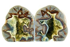 "Mike Seratt of The Prized Pig, Septarian Dragonstone Geode Bookends - 9.5"" L x 3"" W x 5.5"" H  $345 - orig. 499"