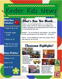 Preschool Newsletters With Home Activities | Preschool newsletter ...