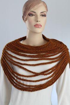 Crochet  Loop  Scarf  Capelet - Cowl Scarf - Neck Warmer. $59.00, via Etsy.
