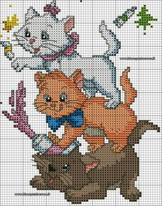 18 best Ideas for crochet cat stitch punto croce Disney Cross Stitch Patterns, Cross Stitch For Kids, Cross Stitch Animals, Modern Cross Stitch, Counted Cross Stitch Patterns, Cross Stitch Charts, Cross Stitch Designs, Cross Stitch Embroidery, Disney Stitch