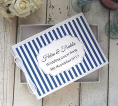 classic personalised wedding guest book stripes