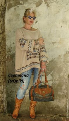 "Buy ""Sabrina"" knitted designer tunic in the ethnic style - beige, tunic, knitted tunic Preppy Fall Fashion, Knit Fashion, Crochet Cardigan, Knit Crochet, Pullover Upcycling, Crochet Woman, Crochet Clothes, Knitwear, Knitting Patterns"