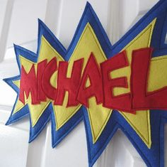 Perfect for boy's or girl's bedroom doors! These Personalised Door / Wall plagues are made of felt and fabric and are padded. They have a strip of Velcro sewn on the back and a strip of sticky velcro, so you can just peal off the paper and stick to a f. Boy Room, Kids Room, Deco Kids, Felt Banner, Superhero Room, Name Plaques, Name Banners, Girls Bedroom, Bedroom Ideas