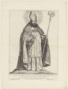 Cornelis Visscher (II) | H. Swietbertus van Teisterbant, Cornelis Visscher (II), Pieter Claesz. Soutman, unknown, 1650 | De heilige Swietbertus is afgebeeld als een bisschop met kap, mijter en zijn attribuut - een ster - in de rechterhand. De ster verscheen bij zijn geboorte om zijn moeder te laten weten dat Swietbertus een belangrijke persoon zou worden. Deze prent maakt deel uit van een reeks Nederlandse heiligen.