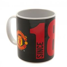 Ceramic Manchester United mug in club colours with the club crest and the year in which the club was founded. FREE DELIVERY on all of our merchandise Manchester United Merchandise, Manchester United Gifts, Online Gifts, The Unit, Ceramics, Mugs, Tableware, Man United, Free Delivery