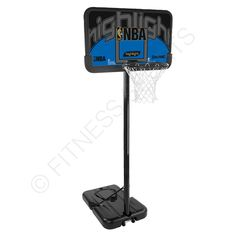 Spalding Highlight Composite portable basketball goal system. Heavy rugged teen plus use. The Spalding Highlight Composite features: Large base for stability. Round, three-part pole system (Ø 6,98 cm). The Backboard of the Spalding Hightlight Composite made of eco-composite material. Solid steel rim (standard size) with a white all-weather net. Fully weatherproof and stainless. Telescopic pole system adjustable from 8ft - 10ft.