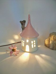 Garden Fairy House/ Night Light - with a  Pink  Roof. $34.00, via Etsy.