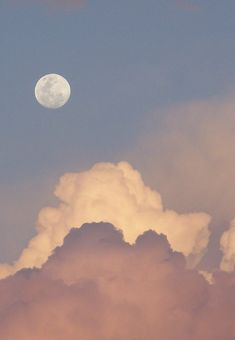 Fluffy clouds below daytime Moon ~ Australia (Summer sky) Pretty Sky, Beautiful Sky, Aesthetic Backgrounds, Aesthetic Wallpapers, Image Zen, Image Swag, Pink Moon, Pink Sky, Sky Aesthetic