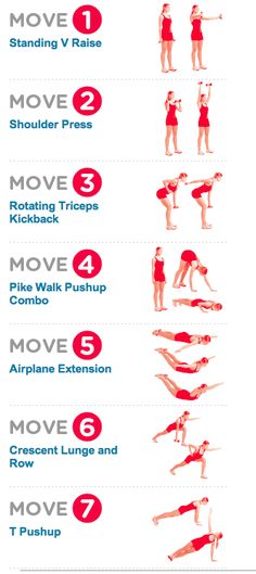Women's Health: The (15 min) Bye-Bye Arm Jiggle Workout // REPS: (1) 12-15 reps (2) 6-8 reps (3) 12-15 reps (4) 5-6 pushups (5) 10-15 (6) 12-15 (7) 5