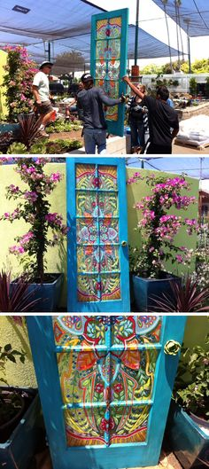 Great art idea! Paint an old door with beautiful flowers, and geometric designs like stained glass and you have beautiful art! For your home or garden! Please also visit www.JustForYouPropheticArt.com for more colorful art you might like to pin. Thanks for looking!
