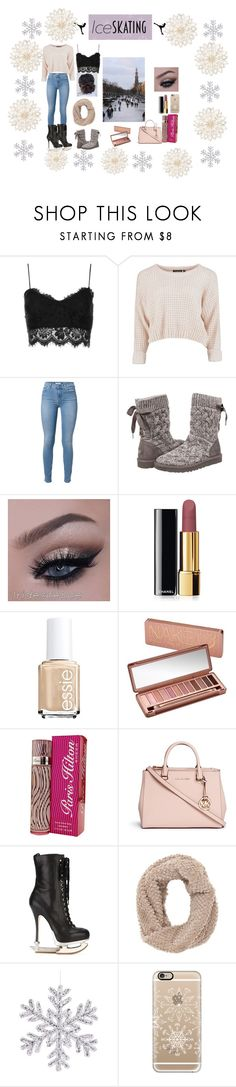 """its a perfect day to go ice skating"" by foreverbeauty1210c on Polyvore featuring Topshop, UGG Australia, Chanel, Essie, Urban Decay, Paris Hilton, Michael Kors, Dsquared2, Charlotte Russe and Casetify"