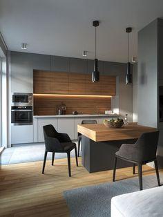 27 Modern Kitchen Interior Design That You Have to Try Kitchen Room Design, Kitchen Cabinet Design, Kitchen Sets, Modern Kitchen Design, Home Decor Kitchen, Kitchen Living, Interior Design Kitchen, Kitchen Furniture, Home Kitchens