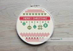 christmas cross stitch pattern, merry christmas, modern cross stitch,  nordic folk art, PDF ** instant download**