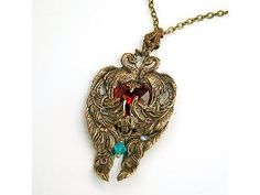 Victorian Neclace Peacock Red Heart Two Hearts Beat as One Valentine's Gift by DesignsBloom