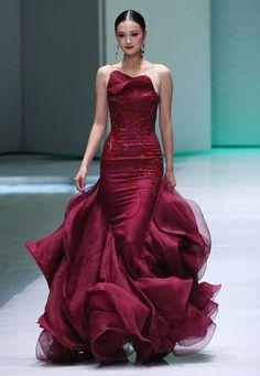 Fabuous huge burgundy ruffling dress | Just a pretty dress