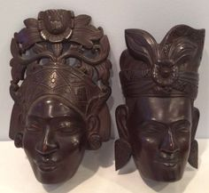 Vintage-Lot-of-2-Solid-Wood-African-Woman-Masks-Hand-Carved-Wall-Hanging-EUC