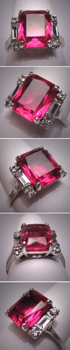 Antique Ruby Ring Vintage Art Deco W. Sapphire