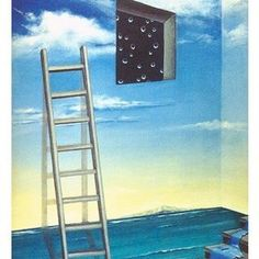 """""""#Reality doesn't impress me. I only believe in intoxication, in ecstasy, and when #ordinary life shackles me, I #escape, one way or another. No more walls."""" ― Anaïs Nin ❇  Sharon Ebert  #surreal #surrealart #surrealism #art #creativity #instaart #painting #acrylic #contemporary #ladder #stepladder #freedom"""