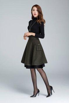 Falda de lana corta falda de invierno falda en capas falda  ddc538469496