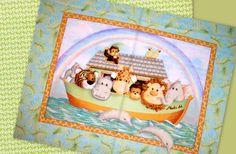 Easy Fabric Panel Baby Quilt Kit Jungle Babies Noahs Ark Kit   auntiechrisquiltfabric - Craft Supplies on ArtFire