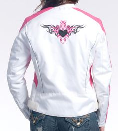 Ladies White and Pink Vented Textile Motorcycle Jacket - $85.45 : Steel Horse Road, Motorcycle Leather | Helmets | Accessories
