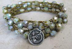 Crochet Beaded Bracelet  Boho Wrap Bracelet  by BejeweledSoul