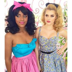 """Double Trouble 60s inspired material girls, @ashlace_ & @adrikarras in @pinupgirlclothing """"Magic of Mary Blair"""" collection. Makeup: @michelinepitt & @alyssamarieartistry Hair: @technicolorcutie and #HisVintageTouch. <3 Micheline https://instagram.com/p/z0lmCqiou9/?modal=true"""