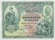Billetes antiguos españoles- 1907, 500 pesetas, anverso