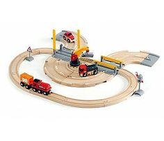 Rail and Road Crane Set by BRIO You can always trust this strong mechanical crane to do its job. Rail and Road Crane Train Set by BRIO will unload the heavy ca Zeppelin, Brio Train Set, Locomotive, Brio Toys, Cargo Container, Box Bed, Wooden Train, Train Tracks, Educational Toys