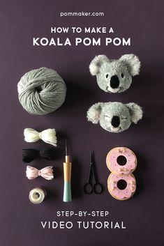 Full length step-by-step video tutorial for DIY koala pompom tutorial by Pom Maker. Free craft tutorial / animal pompom