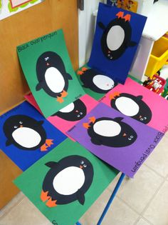Black oval penguin craft
