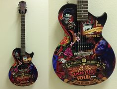 Custom wrapped promotional guitars for Ink Life Tour provided by Brand O' Guitar Company.
