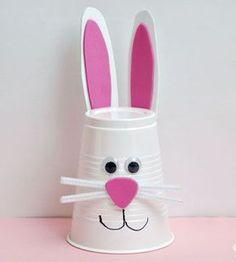 Simple petit lapin de pâques à faire avec un gobelet en carton ou plastique: