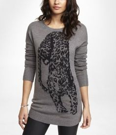 STALKING CHEETAH JACQUARD TUNIC SWEATER from EXPRESS on shop.CatalogSpree.com, your personal digital mall.