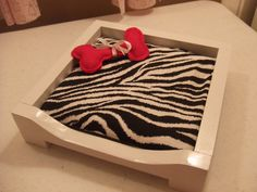 Doll Dog Or Cat Bed W Cushion - For 18 Inch American Girl Doll Pet - Zebra Or…