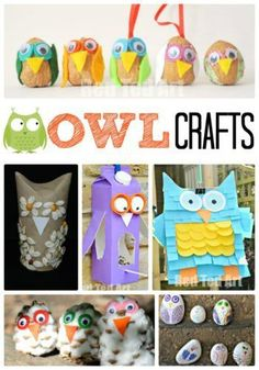 A selection of owl crafts for Autumn from Maggy at Red Ted Art, suitable for a range of ages and using a variety of easily available materials. Autumn Activities For Kids, Animal Crafts For Kids, Craft Projects For Kids, Crafts For Kids To Make, Toddler Crafts, Preschool Crafts, Art For Kids, Children Crafts, Fall Projects