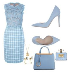 Skye blue by Diva of Cake on Polyvore featuring polyvore fashion style Le Silla Fendi Pamela Love Versace Ermanno Scervino clothing