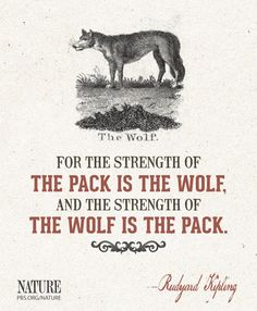 The #Pack is the #Wolf... The Wolf is the Pack. #Quote #RudyardKipling