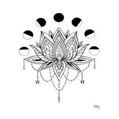 Moon Phase Lotus Art Print by Heather Maerten - X-Small Mandala Flower Tattoos, Flower Tattoo Back, Mandala Tattoo Design, Flower Mandala, Back Tattoo, Tattoo Designs, Tattoo Ideas, Thai Tattoo, Lotus Tattoo