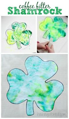 St Patricks Day Craft ~ Easy Preschool Coffee Filter Shamrock We love creating simple holiday crafts.  These adorable little coffee filter Shamrocks are one of our favorite preschool St Patricks Day Craft ideas.  They are quick/easy to create, and only use a a few simple craft supplies.