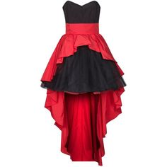 Swing Cocktail dress / Party dress hibiskus/black ($115) ❤ liked on Polyvore featuring dresses, vestidos, robe, red, zipper dress, cocktail dresses, black bustier, black bustier dress and black cocktail dresses