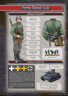 Flames of War - Painting Guide - German Infantry (early war) Military Figures, Military Diorama, Military Art, Military History, Military Weapons, German Soldiers Ww2, German Army, Afrika Corps, Vallejo Paint
