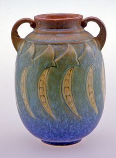 Roseville Pottery Vase, 1933.  Wow, Roseville that looks like Arts and Crafts Pottery!