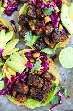 A 30-minute meal that will please everyone! These Smoky Tempeh Tostadas are crispy & satisfying, and the Mango Cabbage Slaw is the perfect tangy complement.