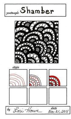 Shamber Zentangle pattern by Lori Howe Zentangle Drawings, Doodles Zentangles, Doodle Drawings, Tangle Doodle, Zen Doodle, Doodle Art, Art Zen, Zantangle Art, Doodle Patterns