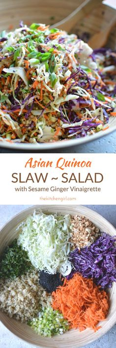 Clean eating is easy with raw veggies, quinoa, and sesame ginger vinaigrette. GF and vegetarian, add chicken or pork. Asian Quinoa Slaw Salad on thekitchengirl.com
