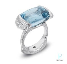Michael Endlich ~ 19.05ct Cushion-cut aquamarine and diamond ring