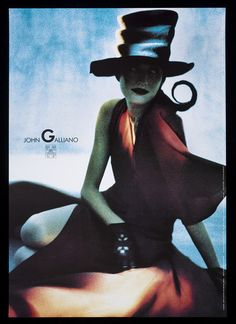 Poster depicting a fashion design by John Galliano, photographed by Javier Vallhonrat, made by John Hind, 1989